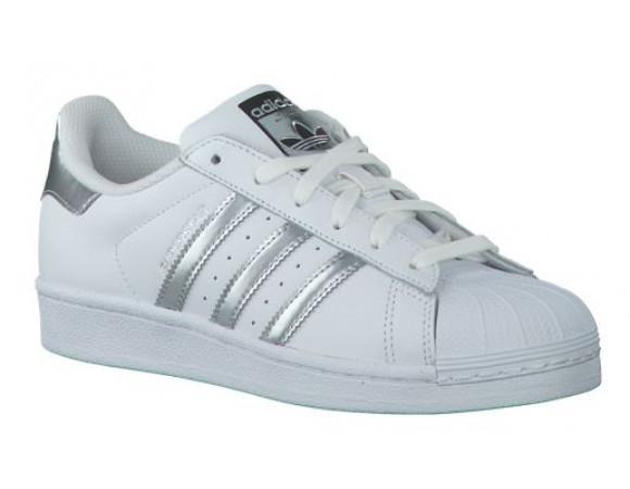 adidas superstar zilver met wit